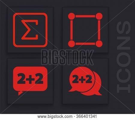 Set Equation Solution, Sigma Symbol, Geometric Figure Square And Equation Solution Icon