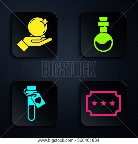 Set Ticket, Magic Ball On Hand, Bottle With Love Potion And Bottle With Love Potion. Black Square Bu