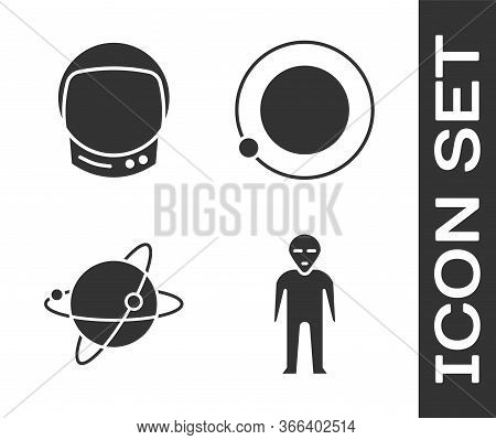 Set Alien, Astronaut Helmet, Satellites Orbiting The Planet Earth And Satellites Orbiting The Planet