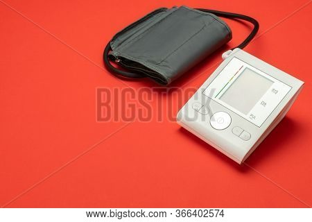 Medical Red. Check Hypertension With Medical Health Monitor For Blood Pressure. Heart Patient Test F