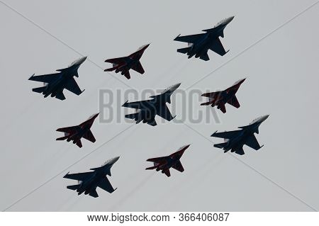Moscow, Russia - May 9, 2020:the Swifts And Russian Knights Pilots On The Su-30 Sm And Mig-29 Planes
