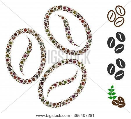 Collage Cacao Beans Organized From Coronavirus Elements In Variable Sizes And Color Hues. Vector Pat