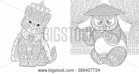 Coloring Pages. Cat In Crown And Panda Bear. Line Art Design For Adult Colouring Book With Doodle An