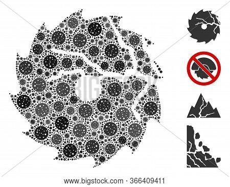 Mosaic Damaged Circular Saw Constructed From Sars Virus Icons In Various Sizes And Color Hues. Vecto