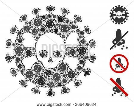 Collage Deadly Virus Composed Of Flu Virus Icons In Random Sizes And Color Hues. Vector Viral Icons