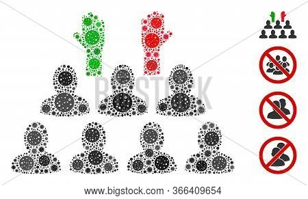 Mosaic Democratization Designed From Coronavirus Icons In Various Sizes And Color Hues. Vector Patho