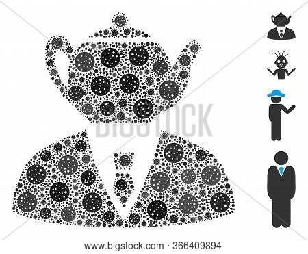Collage Dummy Person United From Sars Virus Icons In Variable Sizes And Color Hues. Vector Viral Ele