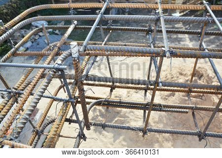 Installation Of Steel Bar Reinforcement, Footing Rebar, Welded Wire Reinforcement In Foundation Conc