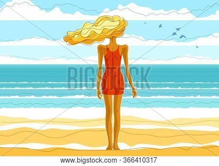 Beautiful Slim Skinny Girl Stands At The Seashore Beach Back And Watches The Ocean Or Sea Resting In
