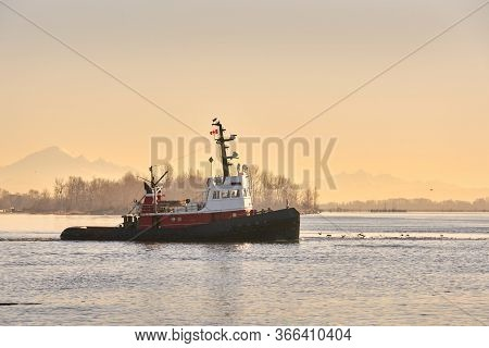 Early Morning Tugboat. A Tugboat Departs The Calm Water Of Steveston Harbor In British Columbia, Can