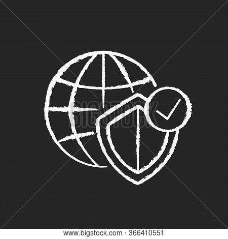 Global Network Security Chalk White Icon On Black Background. Internet Protection Technology. Digita