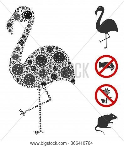 Mosaic Flamingo Constructed From Coronavirus Icons In Various Sizes And Color Hues. Vector Pathogen