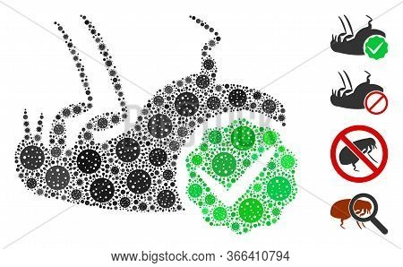 Mosaic Flea Control Constructed From Coronavirus Icons In Random Sizes And Color Hues. Vector Pathog
