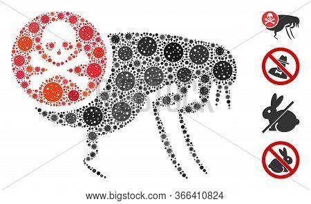Mosaic Flea Pesticide Composed Of Covid-2019 Virus Icons In Different Sizes And Color Hues. Vector V