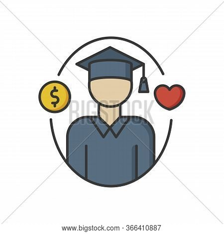 Support For Students Rgb Color Icon. Education Loan. Financial Aid For University Graduate. Money Do