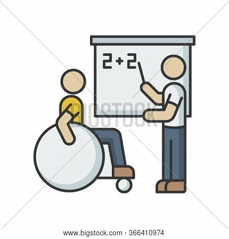 Inclusive Education Rgb Color Icon. Assistastance For Person With Disability. Handicapped Student Su