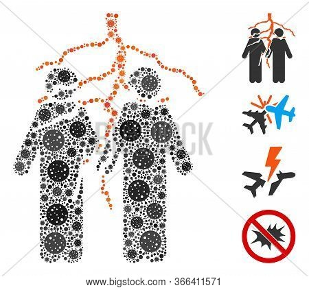 Collage Friend Conflict Organized From Sars Virus Icons In Different Sizes And Color Hues. Vector Vi