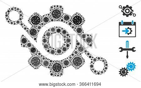Mosaic Gear Solution United From Flu Virus Icons In Various Sizes And Color Hues. Vector Infection E