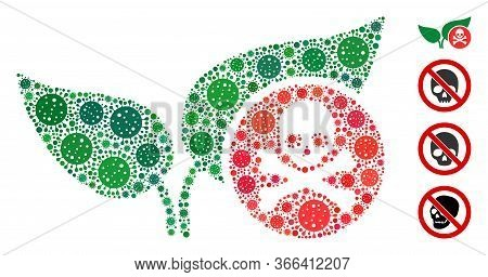 Collage Herbicide Designed From Flu Virus Icons In Different Sizes And Color Hues. Vector Viral Icon