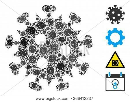Collage Hiv Virus United From Coronavirus Icons In Different Sizes And Color Hues. Vector Pathogen I