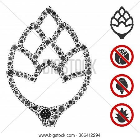 Collage Hop Bud Designed From Covid-2019 Virus Icons In Different Sizes And Color Hues. Vector Viral