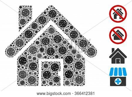 Collage House Organized From Sars Virus Icons In Different Sizes And Color Hues. Vector Pathogen Ite