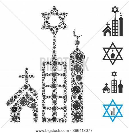 Collage Jerusalem City Composed Of Covid-2019 Virus Icons In Various Sizes And Color Hues. Vector In