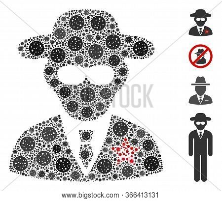 Collage Kgb Spy Organized From Sars Virus Icons In Various Sizes And Color Hues. Vector Viral Icons