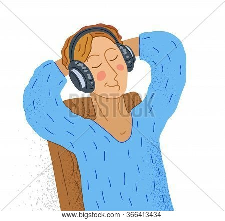 Young Man Listening To Music In Headphones Vector Illustration Isolated On White, Boy Is Enjoying An