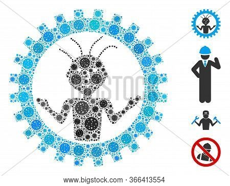 Mosaic Mad Engineer Organized From Covid-2019 Virus Icons In Different Sizes And Color Hues. Vector