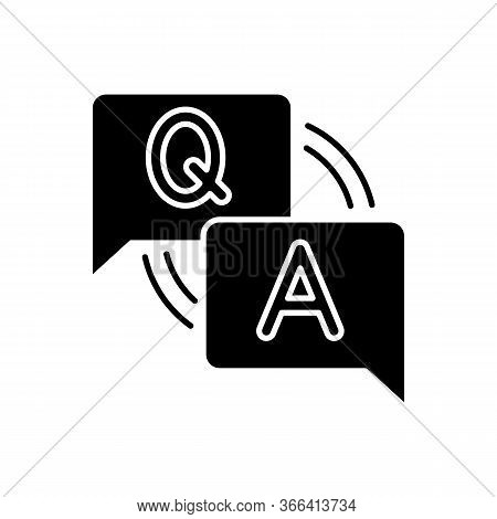 Faq Black Glyph Icon. Frequently Asked Questions. Answers For Clients. Letters In Speech Bubble. For
