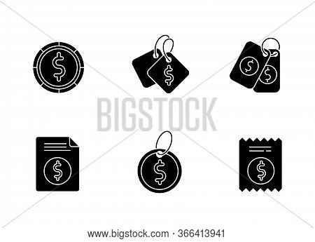 Price Tags Black Glyph Icons Set On White Space. Label For Purchased Merchandise. E Commerce And Dis