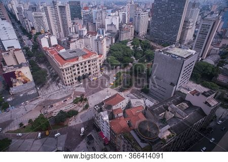 Sao Paulo, Brazil - December 21, 2015: Aerial View Of Sao Paulo Downtown, Economic Capital Of Brazil