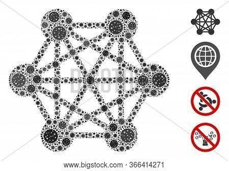 Mosaic Network Relations Designed From Coronavirus Icons In Random Sizes And Color Hues. Vector Vira