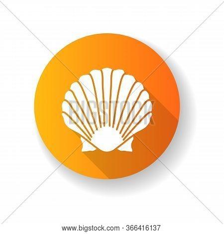 Scallop Shell Yellow Flat Design Long Shadow Glyph Icon. Exotic Seashell, Decorative Conch. Ocean So