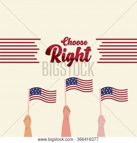 United States Elections Poster. Hands With Flags Of United States - Vector