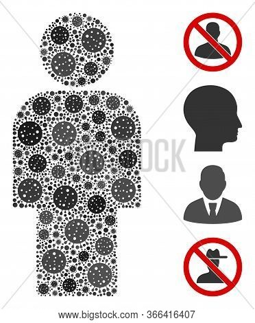 Collage Person United From Sars Virus Items In Variable Sizes And Color Hues. Vector Pathogen Icons