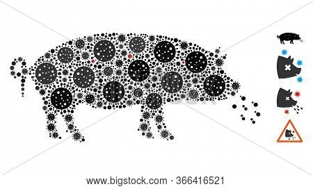 Mosaic Pig Plague Constructed From Sars Virus Icons In Various Sizes And Color Hues. Vector Viral Ic