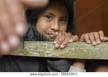 Palhoca, Santa Catarina, Brazil - November 02, 2015: Portrait Of Young Guarani Ethnicity Student Gir