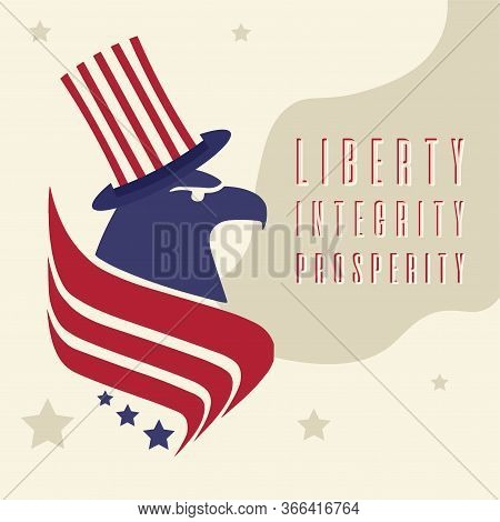 United States Elections Poster. Abstract Eagle With A Hat - Vector
