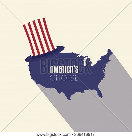 United States Elections Poster. Map Of United States With A Hat - Vector