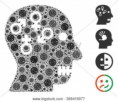Collage Psychosexual Disorder United From Coronavirus Icons In Variable Sizes And Color Hues. Vector