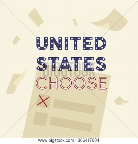 United States Elections Poster With A Ballot Paper - Vector