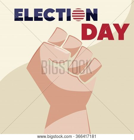 United States Elections Poster With A Hand Icon - Vector