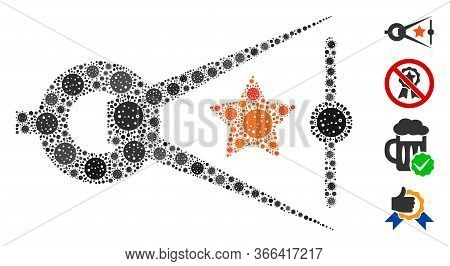 Mosaic Quality Inspection Designed From Flu Virus Icons In Various Sizes And Color Hues. Vector Path