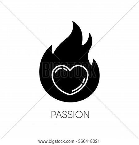 Passion Black Glyph Icon. Intense Positive Emotion. Affection And Lust. Desire From Libido. Flaming