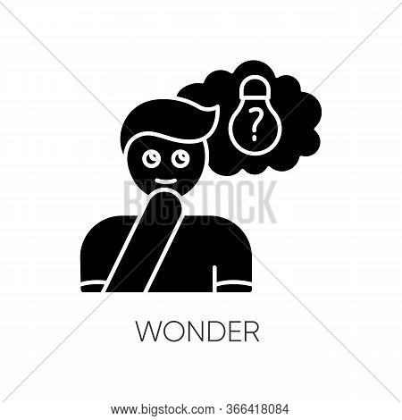 Wonder Black Glyph Icon. Curious Facial Expression. Inspirational Thought. Man With Creative Thinkin