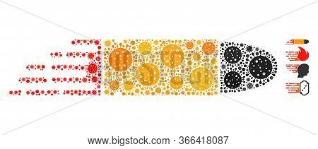 Collage Rush Bullet Organized From Covid-2019 Virus Items In Various Sizes And Color Hues. Vector In