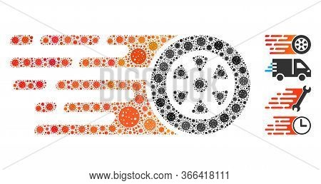 Collage Rush Car Wheel Constructed From Flu Virus Icons In Different Sizes And Color Hues. Vector Vi