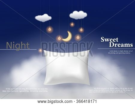 Vector Illustration With Realistic 3d Square Pillow For The Best Dreams Ever, Comfortable Sleep. Sof